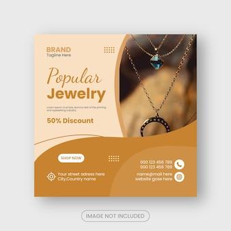 Publication de bijoux sur les réseaux sociaux et bannière instagram ou conception de flyer carré premium