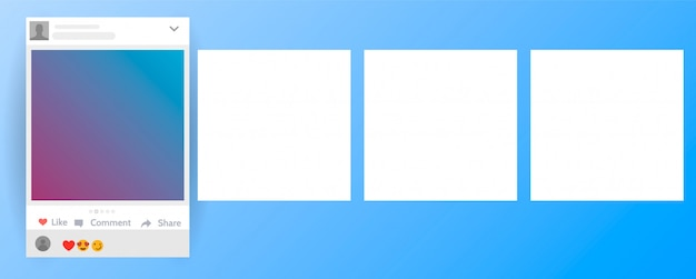 Publication du carrousel d'interface sur le réseau social. illustration du carrousel de l'interface