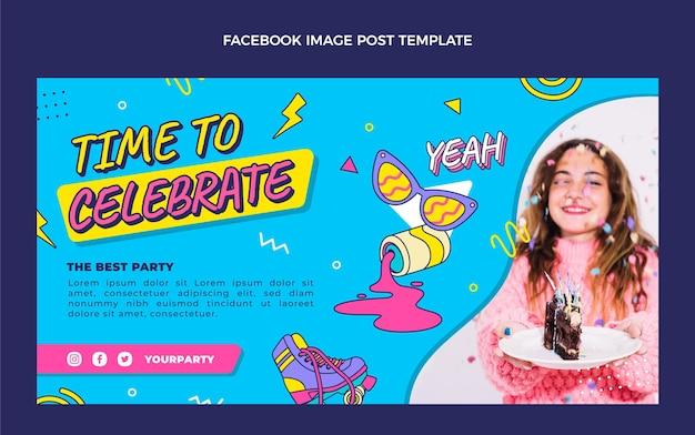 Publication facebook anniversaire des années 90 dessinée à la main
