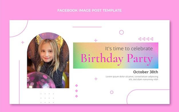 Publication facebook d'anniversaire de texture dégradée