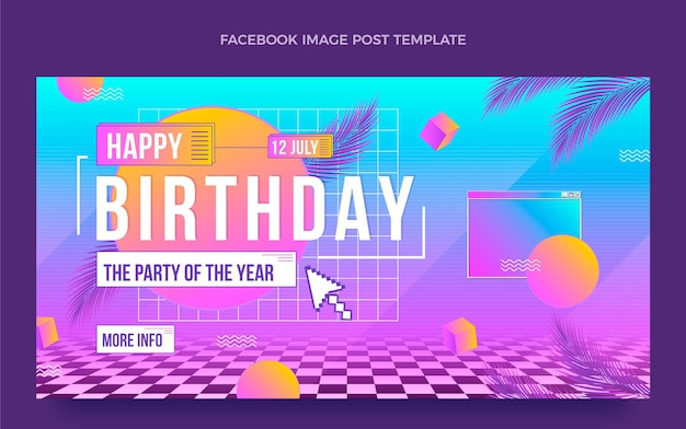 Publication facebook d'anniversaire de vaporwave rétro dégradé