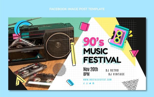 Publication facebook du festival de musique des années 90 au design plat