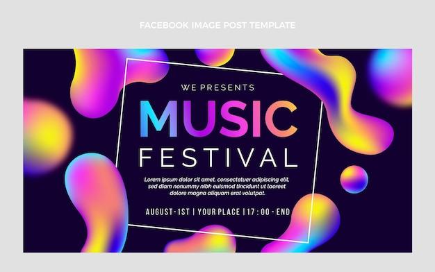 Publication facebook du festival de musique coloré dégradé