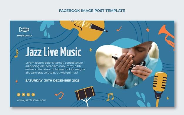 Publication facebook du festival de musique colorée dessinée à la main