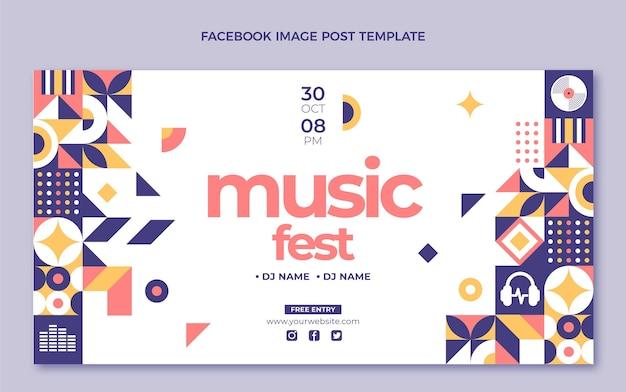 Publication facebook du festival de musique en mosaïque design plat