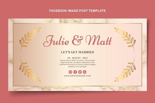 Publication facebook de mariage doré de luxe réaliste