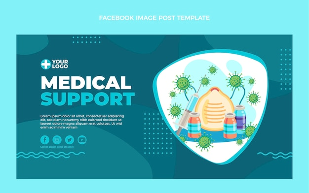 Publication facebook de support médical design plat