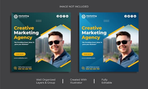 Publication instagram créative sur les réseaux sociaux d'entreprise pour le modèle de promotion du marketing numérique premium