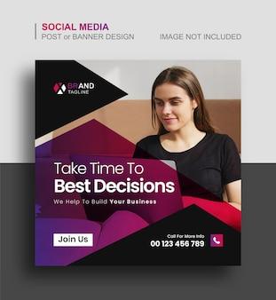 Publication d'instagram sur les médias sociaux d'entreprise ou conception de bannières marketing