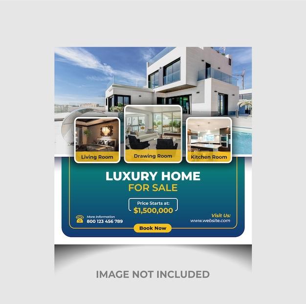 Publication instagram de vente de maison de luxe et bannière de réseaux sociaux ou modèle de flyer carré vecteur premium