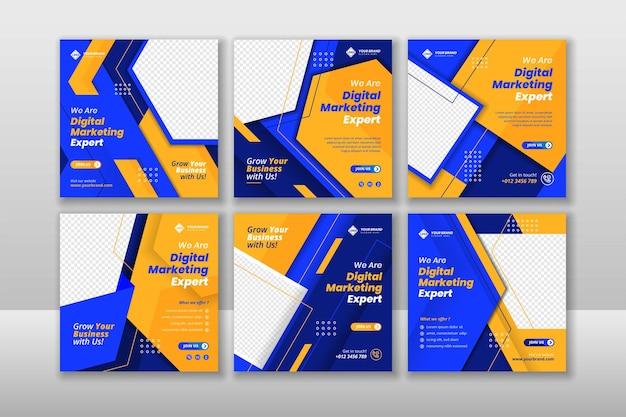 Publication sur les médias sociaux et bannière web pour le marketing d'entreprise numérique