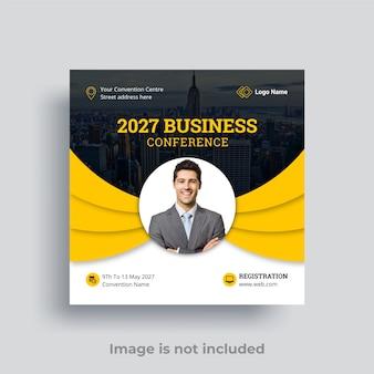 Publication de médias sociaux de conférence d'affaires vecteur premium