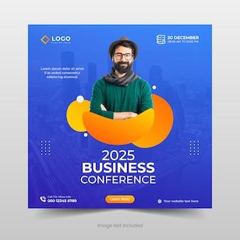 Publication de médias sociaux de conférence d'entreprise et modèle de conception de bannière web ou de flyer carré