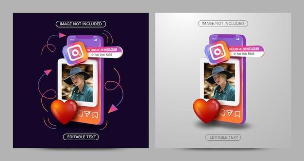 Publication de médias sociaux instagram sur le concept mobile