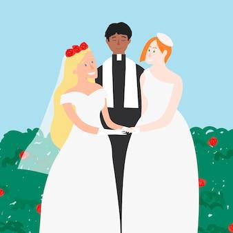 Publication de médias sociaux de vecteur de cérémonie de mariage de même sexe