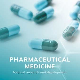 Publication de médias sociaux de vecteur de modèle de soins de santé de médecine pharmaceutique