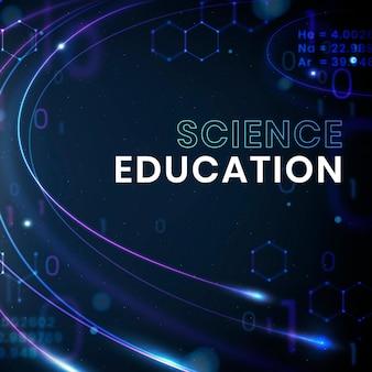 Publication de médias sociaux de vecteur de modèle de technologie d'éducation scientifique