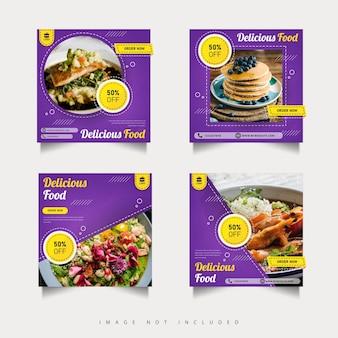 Publication de promotion des médias sociaux alimentaires avec dégradé violet