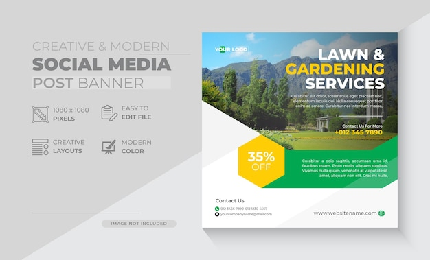 Publication sur les réseaux sociaux et bannière web du service d'aménagement paysager ou de jardin de pelouse