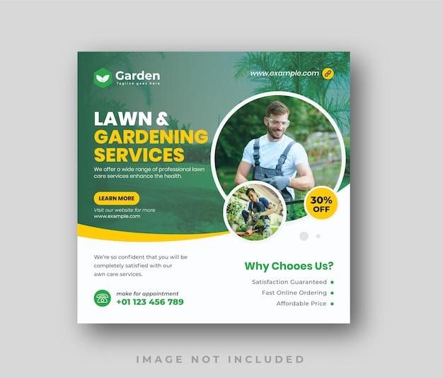 Publication sur les réseaux sociaux du service d'entretien du jardin clean elegant lawn
