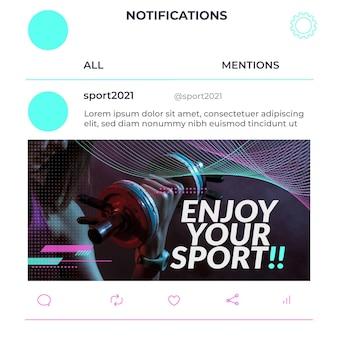 Publication sur les réseaux sociaux du sport des vagues futuristes