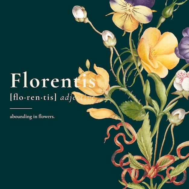 Publication sur les réseaux sociaux de modèles floraux esthétiques modifiables