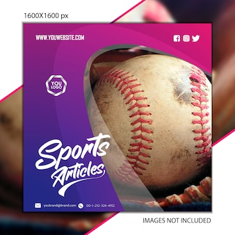 Publication sportive de baseball pour réseau social