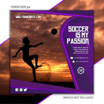 Publication sportive de football pour réseau social