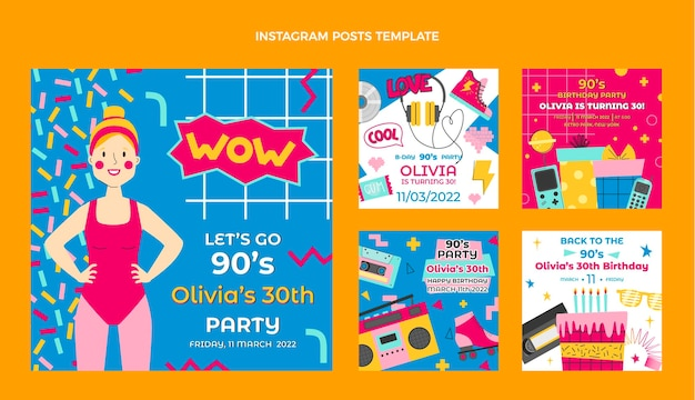 Publications instagram d'anniversaire des années 90 dessinées à la main