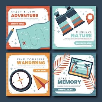 Publications instagram d'aventure au design plat