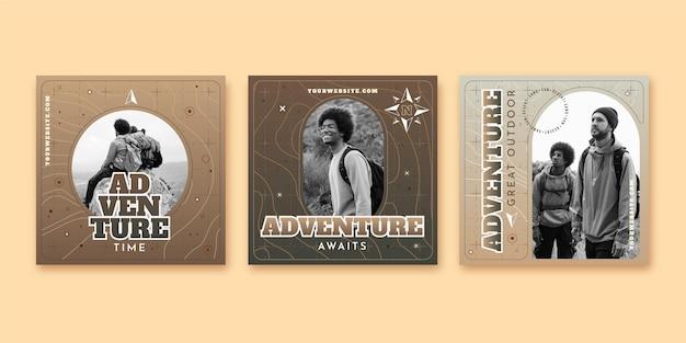 Publications instagram d'aventure dégradée avec photo