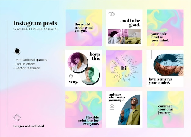 Publications instagram définies dans des dégradés de couleurs pastel avec effet liquide et style minimal avec des citations de motivation