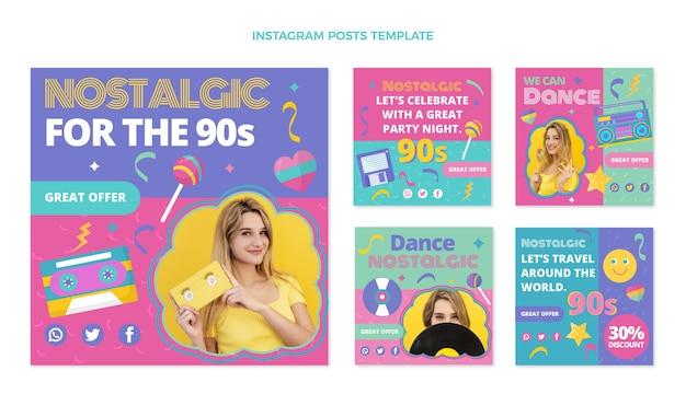 Publications instagram du festival de musique des années 90 au design plat