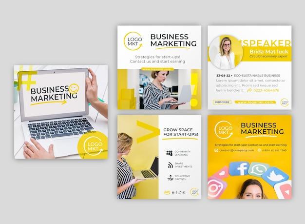 Publications instagram d'entreprise de marketing