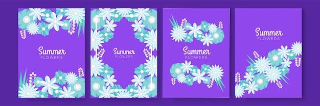 Publications instagram d'été de fleurs colorées dessinées à la main ou collection de modèles d'histoires de médias sociaux. collection de cartes de voeux florales de style papier découpé