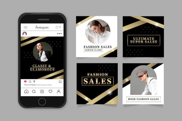 Publications instagram de luxe doré dégradé avec photo