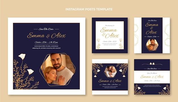 Publications instagram de mariage d'or de luxe