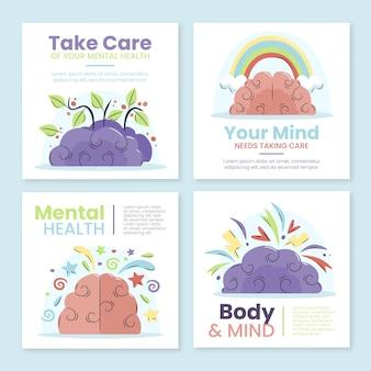 Publications instagram sur la santé mentale au design plat