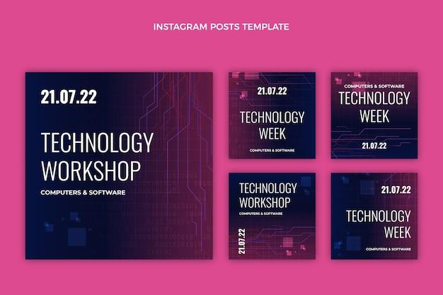 Publications instagram de technologie abstraite dégradée