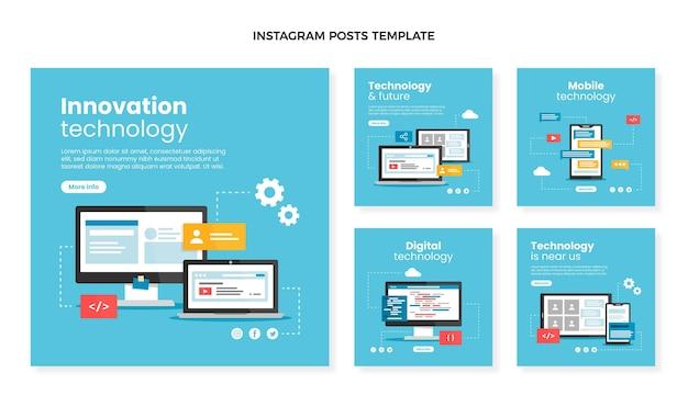 Publications instagram de technologie minimale de conception plate