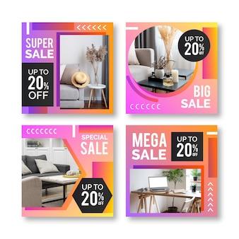 Publications instagram de vente dégradée avec modèle photo