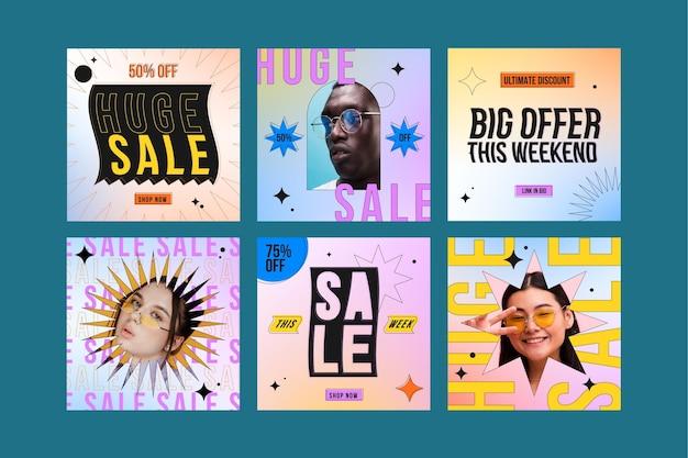 Publications instagram de vente dégradée avec photo