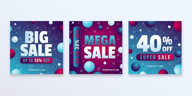 Publications instagram de vente dégradée