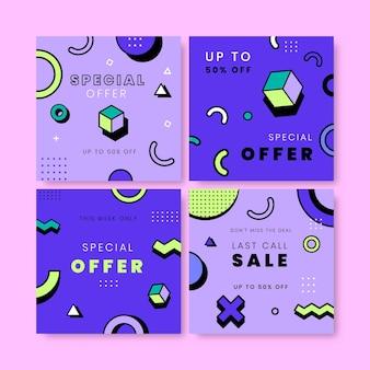 Publications instagram de la vente de style memphis