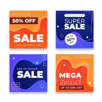 Publications instagram de ventes abstraites dégradées