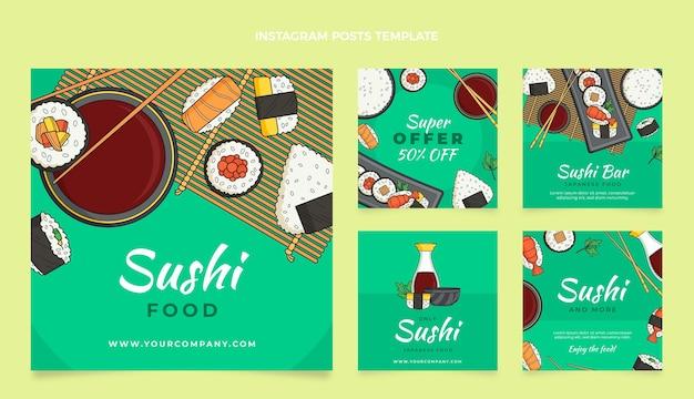 Publications sur les réseaux sociaux alimentaires dessinées à la main