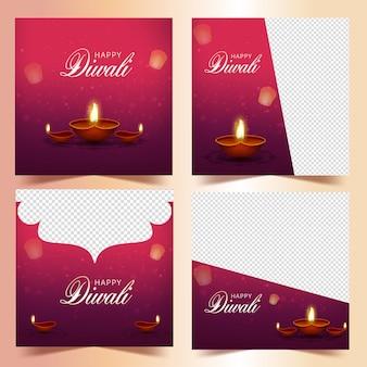 Publications sur les réseaux sociaux de diwali avec des lampes à huile réalistes allumées (diya) et un espace de copie dans quatre options.