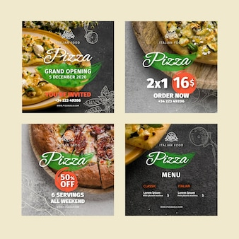 Publications sur les réseaux sociaux des restaurants de pizza