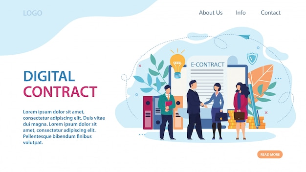 Publicité bannière lettrage de contrat numérique.