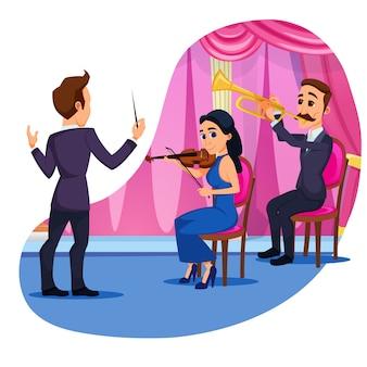 Publicité bannière orchestre performance flat.